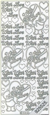 Stickers english - With Love - silber, silber,  silber