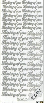Stickers english - Thinking of you - silber, silber,  silber,  Art - Stickers normal