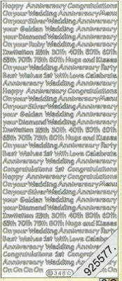 Stickers english - Happy Anniversary - silber, silber,  silber
