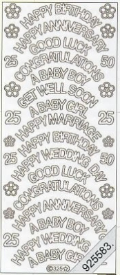 1 Stickers - 10 x 23 cm english - Happy Birthday - God Luck... - silber, silber,  silber