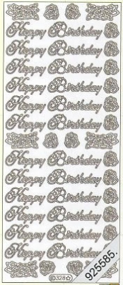 1 Stickers - 10 x 23 cm english - Happy Birthday - gold, gold,  gold