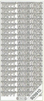 1 Stickers - 10 x 23 cm Happy Christmas - silber, silber