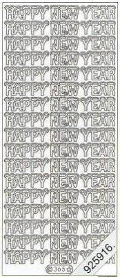 1 Stickers - 10 x 23 cm Happy New Year - silber, silber