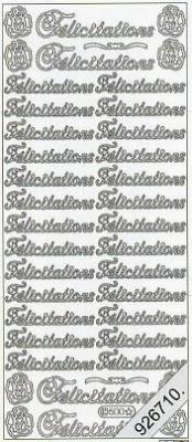 Stickers 0500 - Felicitations - gold, gold,  Schriften - französisch,  Glückwunsch auf Französisch,  Blumen