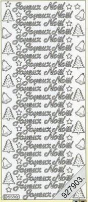 Stickers 0553 - Joyeux  No?l - silber, silber,  Joyeux Noel,  Glocken,  Weihnachtsbaum