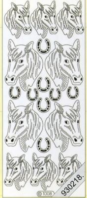 1 Stickers - 10 x 23 cm  - silber, silber,  Art - Stickers,  Jahreszeit - Everyday,  Pferde