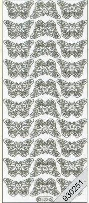 1 Stickers - 10 x 23 cm 0822 - kleine Schmetterlinge - silber, silber,  Art - Stickers,  0822 - kleine Schmetterlinge