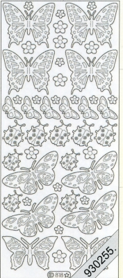 1 Stickers - 10 x 23 cm  - silber, silber,  Art - Stickers,  Jahreszeit - Everyday,  Schmetterlinge