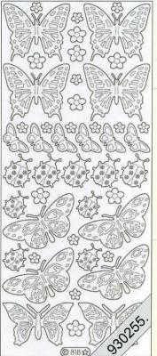 Stickers 0818 - Marienk. + Schmetterl. - gold, gold,  Art - Stickers,  0818 - Marienk. + Schmetterl.