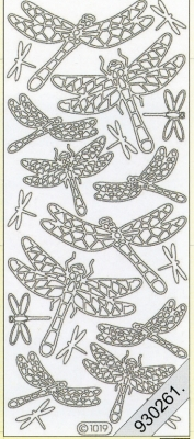 1 Stickers - 10 x 23 cm 1019 - Libelle - gold, gold,  Art - Stickers,  Jahreszeit - Sommer,  Libellen