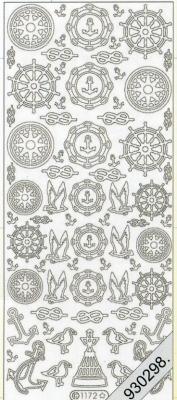 1 Stickers - 10 x 23 cm 1172 - silber, silber,  Art - Stickers,  Jahreszeit - Everyday,  Vögel,  Anker