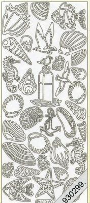 Stickers Figuren / Motive - silber, silber,  Art - Stickers,  Jahreszeit - Sommer,  Muscheln,  Anker,  Vögel