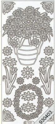 Stickers Blumen in Vase silber - silber, silber,  silber,  Art - Stickers