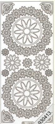 1 Stickers - 10 x 23 cm 1130 - Blumenkreis - weiß, weiß,  Art - Stickers,  Jahreszeit - Everyday,  Blumen