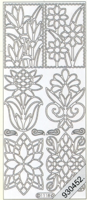 1 Stickers - 10 x 23 cm  - silber, silber,  Art - Stickers,  Jahreszeit - Everyday,  Blumen