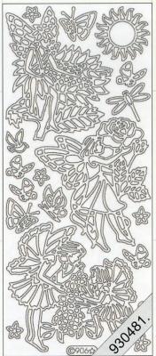 1 Stickers - 10 x 23 cm 0906 - Blumenkinder 1 - gold, gold,  Art - Stickers,  0906 - Blumenkinder 1,  Schmetterlinge