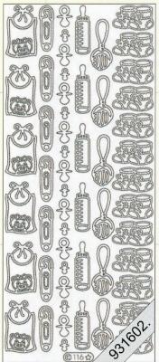 Stickers 0116 - Baby - silber, silber,  Ereignisse - Geburt,  Art - Stickers,  0116 - Babysachen,  Rassel,  Nuckel,  Lätzchen