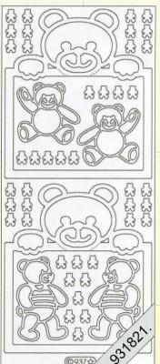 Stickers Baby Bärchen silber - silber