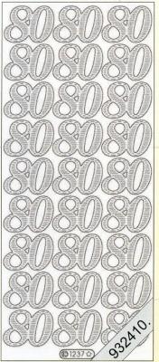 Stickers Zahlen - silber, silber,  Jahreszeit - Everyday,  Geburtstag,  80