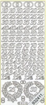 1 Stickers - 10 x 23 cm  - silber, silber,  Ereignisse - Hochzeit,  Jahreszeit - Everyday,  Silberhochzeit,  Hochzeit,  Geburtstag