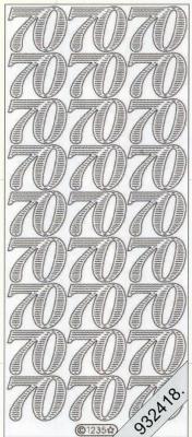 Stickers Zahlen Jubiläum 70 - gold