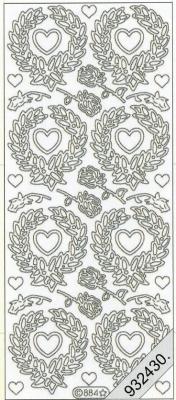 1 Stickers - 10 x 23 cm  - gold, gold,  Art - Stickers,  Jahreszeit - Everyday,  Herzen