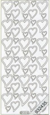 Stickers Herzen silber - silber, silber,  silber,  Art - Stickers