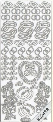 Stickers 0803 - Ringe, Herz+Rosen, - gold
