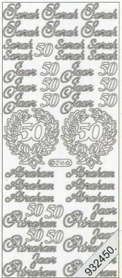 Starform, silber,  Art - Stickers,  Jahreszeit - Everyday,  50,  Geburtstag