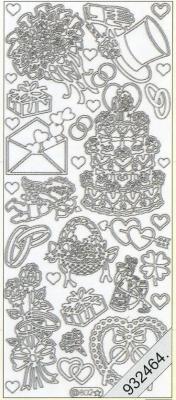 Stickers 0802 - Torte, Hut+Ringe, - silber, silber,  Art - Stickers,  0802 - Torte,  Hut+Ringe