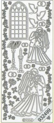 Stickers 0935 - Heiraten in Kirche - silber, silber,  Art - Stickers,  0935 - Heiraten in Kirche