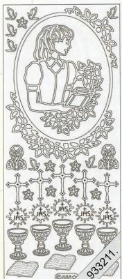 1 Stickers - 10 x 23 cm 0888 - Kommunion Mädchen - gold, gold,  Art - Stickers,  0888 - Kommunion Mädchen,  Konfirmation,  Bibel,  Kelch,  Kreuz