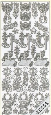1 Stickers - 10 x 23 cm 0883 - Kondolenz - silber, silber,  Art - Stickers,  Jahreszeit - Everyday,  Konfirmation,  Kommunion