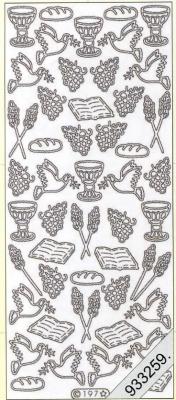 1 Stickers - 10 x 23 cm  - silber, silber,  Art - Stickers,  Brot,  Tauben,  Bücher