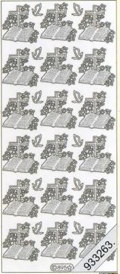 1 Stickers - 10 x 23 cm 0895 - Bibel und Kreuz - silber, silber,  Art - Stickers,  0895 - Bibel und Kreuz