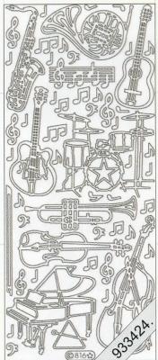 Stickers 0816 - Musikinstrumente - silber, silber,  Art - Stickers,  0816 - Musikinstrumente