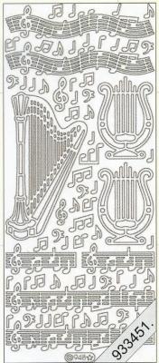 Stickers Harfe+Noten - silber, silber,  Art - Stickers,  Musik