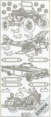 1 Stickers - 10 x 23 cm 1009 - PKW, Flugzeug, Motorrad - gold, gold,  Art - Stickers,  Jahreszeit - Everyday,  Auto,  Flugzeug,  Motorrad