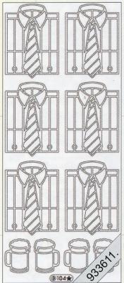 1 Stickers - 10 x 23 cm  - silber, silber,  Art - Stickers,  Jahreszeit - Everyday,  Hemd,  Mann,  Krawatte