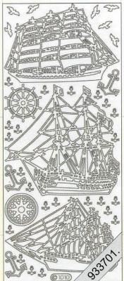 1 Stickers - 10 x 23 cm 1010 - Segelboot - silber, silber,  Art - Stickers,  Jahreszeit - Everyday,  Vögel,  Schiff