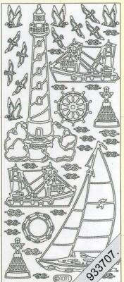 1 Stickers - 10 x 23 cm 1011 - Leuchtturm+Boot - silber, silber,  Art - Stickers,  Jahreszeit - Everyday,  Vögel,  Schiff,  Leuchtturm