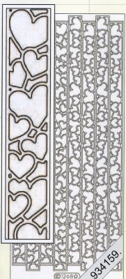 1 Stickers - 10 x 23 cm  - gold, gold,  Muster - Linien,  Art - Stickers,  Jahreszeit - Everyday,  Herzen