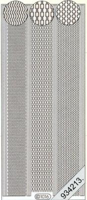 1 Stickers - 10 x 23 cm 1016 - Rand Zacken - silber, silber,  Muster - Linien,  Art - Stickers,  1016 - Rand Zacken