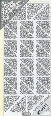 1 Stickers - 10 x 23 cm 1018 - Ecken - silber, silber,  Art - Stickers,  1018 - Ecken