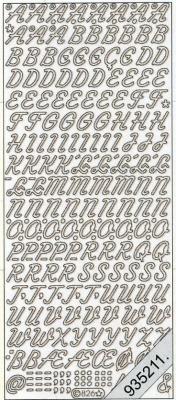 1 Stickers - 10 x 23 cm 0826 - Buchstaben schräg - gold, gold,  Art - Stickers,  0826 - Buchstaben schräg