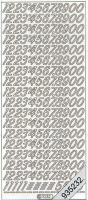 1 Stickers - 10 x 23 cm 1032 - Ziffern groß - silber, silber,  Art - Stickers,  1032 - Ziffern groß