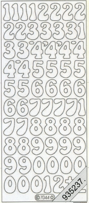 Stickers Zahlen - silber