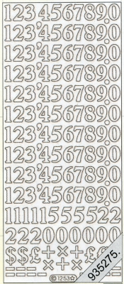 Stickers Zahlen - silber, silber,  Art - Stickers