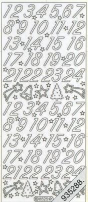 Stickers 8525 - silber, silber,  Schriften - Zahlen,  Art - Stickers