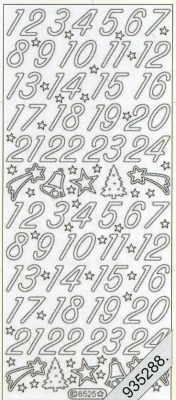 Stickers 8525 - gold, gold,  Schriften - Zahlen,  Art - Stickers